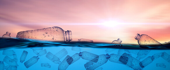Obraz plastic bottles floating in the sea Plastic waste floats in the water. The concept of plastic waste and pollution and the concept of change. - fototapety do salonu