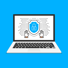 Computer security concept. Laptop with shield and lock on screen. Vector illustration. - fototapety na wymiar