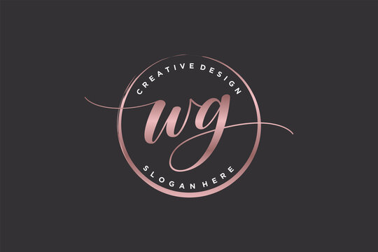 Initial WG handwriting logo with circle template vector signature, wedding, fashion, floral and botanical with creative template.