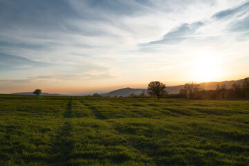 Fototapeta Beautiful rural landscape at sunset, panorama of countryside in Slovakia. obraz