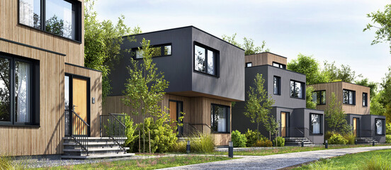 Fototapeta Modular homes exterior designs of modern architecture obraz