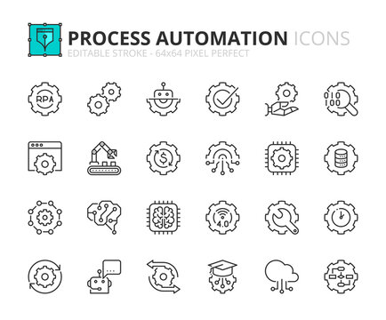 Simple set of outline icons about robotic process automation