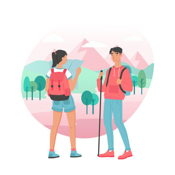 Traveling couple. Young man and woman hiking. Vector characters design