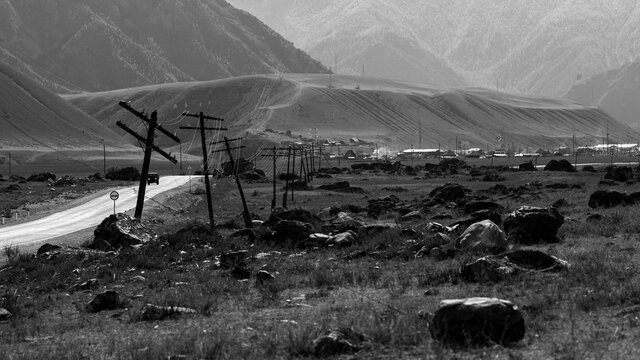 View of the Chuya Highway in Altai Republic, Russia. Black and white photo.