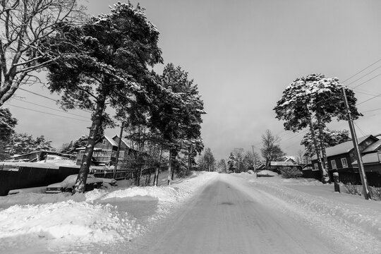 Winter rural landscape, in the Republic of Karelia, Russia. Black and white photo.