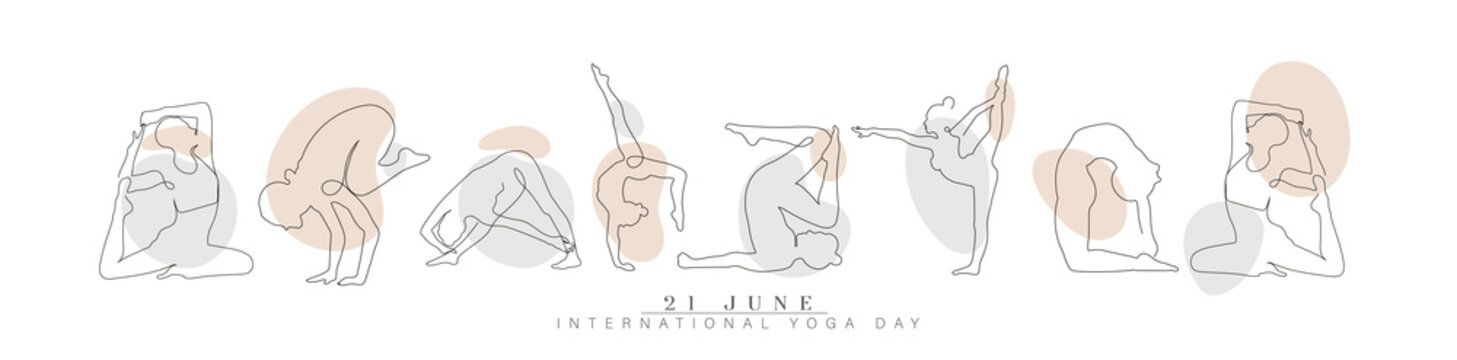 illustration of International Yoga day, continuous line drawing of women fitness yoga concept