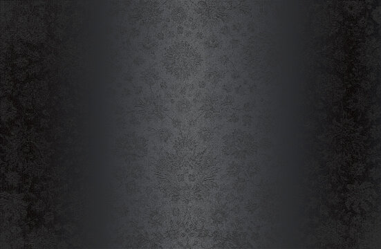 Luxury black metal gradient background with distressed fabric, textile texture. Ornamental floral pattern
