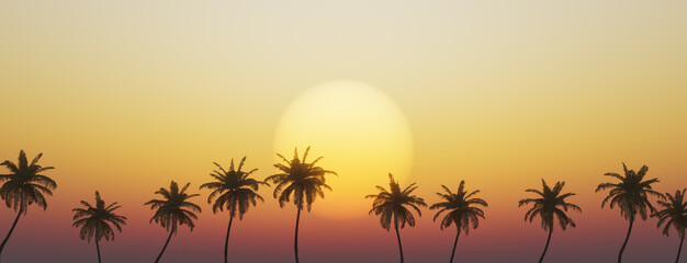 Obraz tropical sunset with palm trees - fototapety do salonu