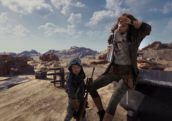 Post-apocalyptic beautiful brunette woman with son outdoor