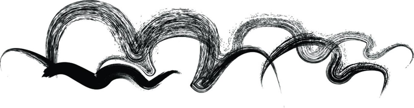 Vector cloudy shape . Wavy Brush Stroke .