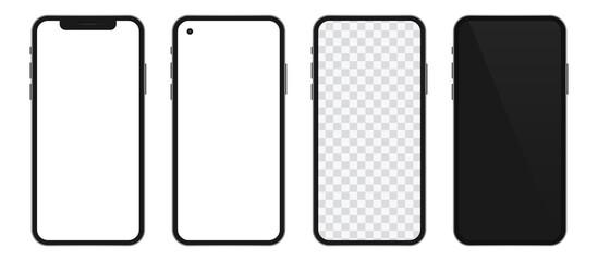 Obraz Realistic templates of modern smartphone. Vector phone mockup set. - fototapety do salonu