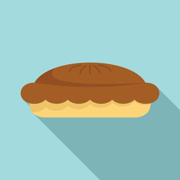 Chocolate pie icon, flat style