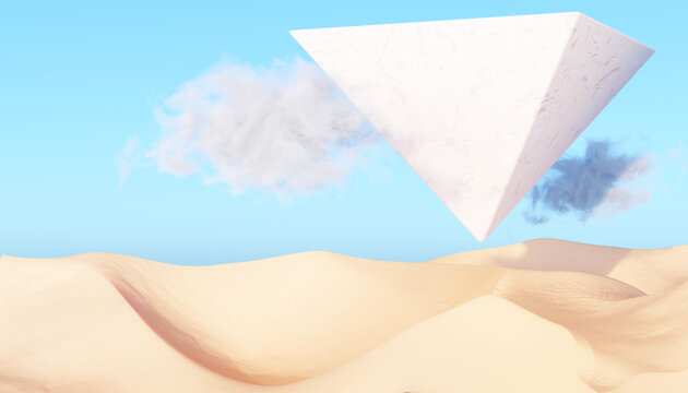Surreal desert landscape with white flying pyramid and white clouds