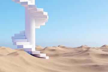 Obraz Surreal desert landscape with white spiral staircase on sand - fototapety do salonu