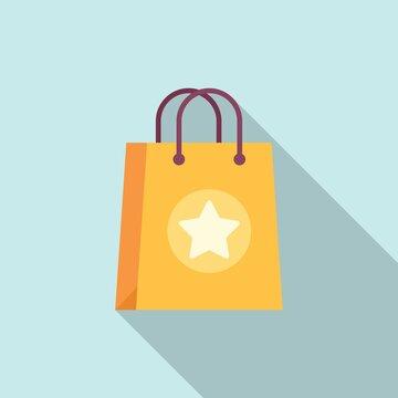 Sale bonus bag icon, flat style