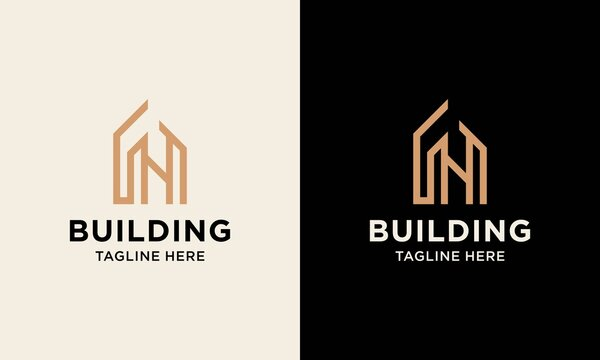 Building logo illustration vector graphic design in line art style. Good for brand, advertising, real estate, construction, house, home.
