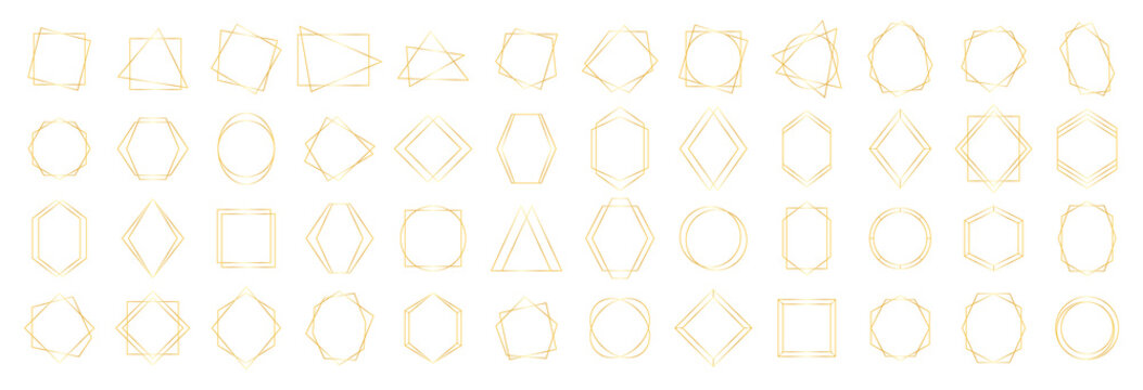 Set of Golden geometrical polyhedrons. Collection geometric frames. Gold wedding invitation, luxury templates, decorative patterns. Modern abstract vector elements.