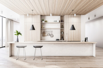 Modern wood and concrete kitchen interior with island, appliances and window with city view and...