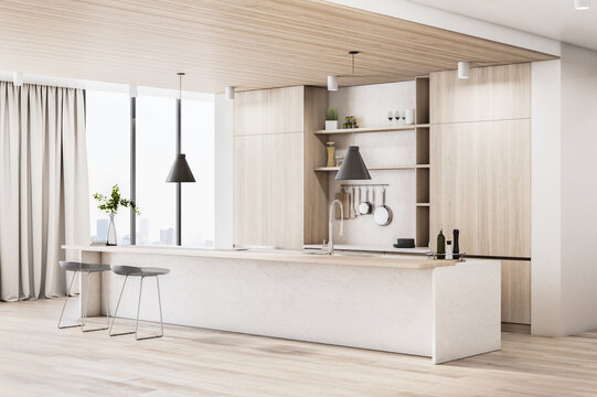 Luxury wood and concrete kitchen interior with island, appliances and daylight. 3D Rendering.