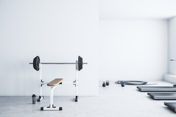 Modern gym interior with empty mockup place, equipment and daylight. Mock up, 3D Rendering.