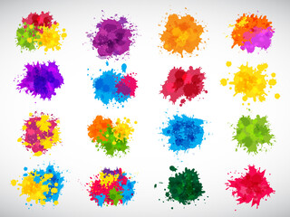 Fototapeta Color splashes. Abstract ink brushes shapes liquid colored templates splatters magenta yellow blue recent vector illustrations set for design projects obraz