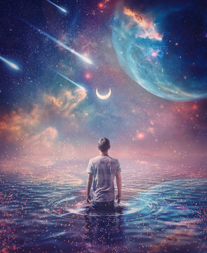 Wandering in the ocean of space. Wonderful cosmic background, surreal scene, starry night sky on another planet and a person walks in the water watching the crescent moon, meteor shower and nebulas