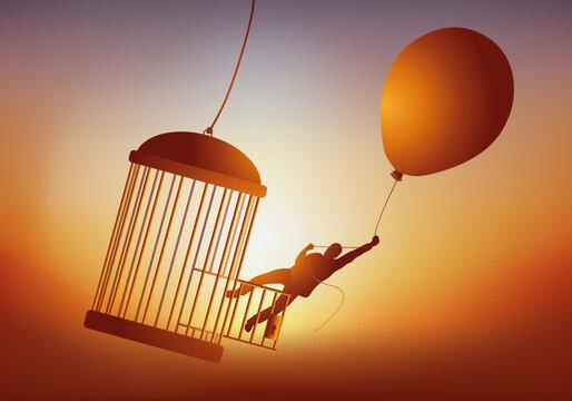 Concept de l'évasion et du rêve de liberté, avec un homme qui quitte une cage à oiseau en s'envolant avec un ballon de baudruche.