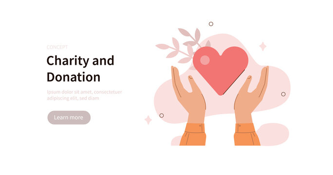 Volunteer hands holding big heart to supporting and giving help. Humanitarian assistance, charity and donation concept. Flat cartoon vector illustration.