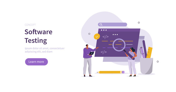 People characters testing program. Developers team solving errors and bugs. Software testing process and code review concept. Flat cartoon vector illustration.