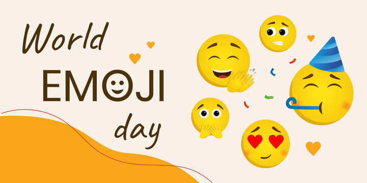 Banner with world emoji day concept. Vector illustration in cartoon style. Rectangular composition with different emotions and text. Shy, scared, joyful, and loving