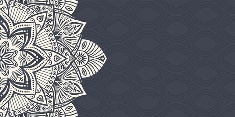 Horizontal mandala banner. Decorative flower mandala background with place for text. Beige mandala on dark background.