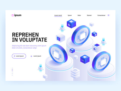 Vector landing page of Tech isometric concept. Cryptocurrency exchange, digital money currency, banking transaction, financial tools, investment. Illustration of advertising banner in isometry design