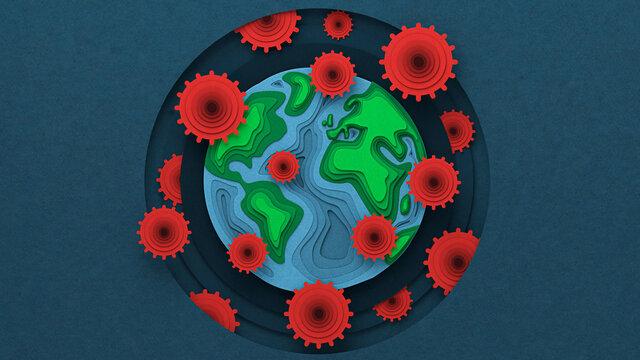 Earth with a Corona virus Pandemia