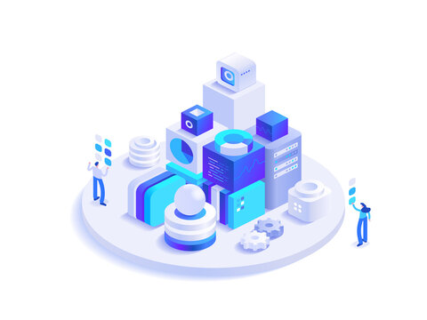 Cryptocurrency and blockchain technology isometric concept. Digital money mining farm, data analysis, financial tools. People work at crypto business. Vector character illustration in isometry design