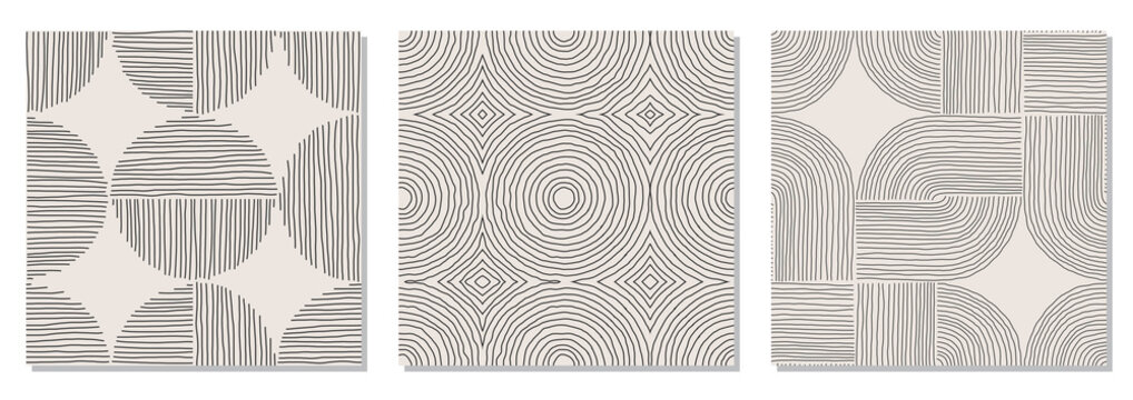 Set of trendy minimalist seamless pattern with abstract hand drawn composition