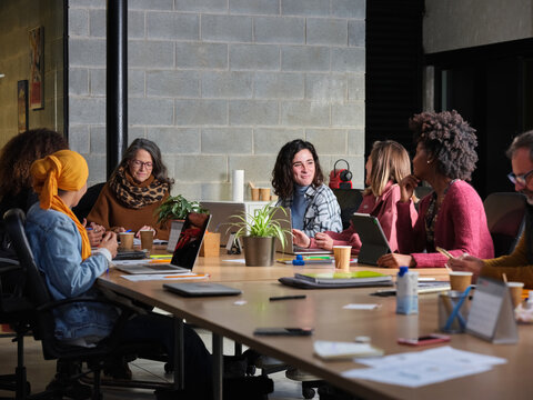 Diverse women during business meeting in office