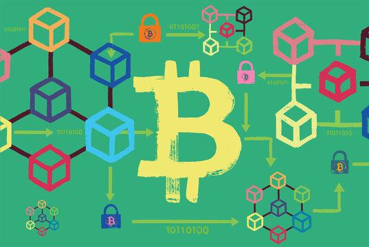 Bitcoin symbol, block chain cubes and padlocks