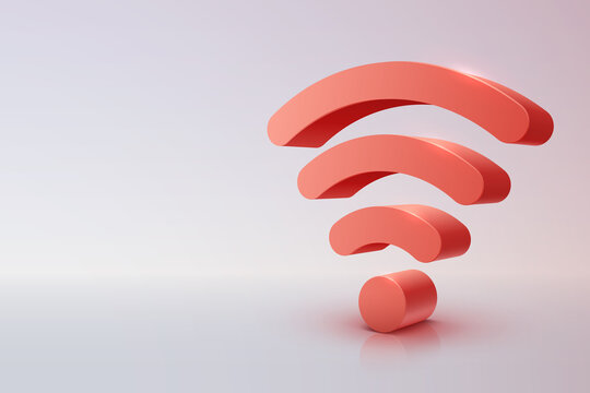 Red wifi sign on white background