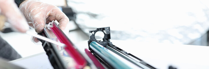Wizard makes ink replacements in printer cartridge - fototapety na wymiar