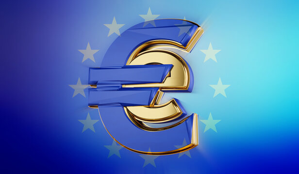 symbolic golden E-Euro as Euro Coin, digital currency of Europe 3d-illustration