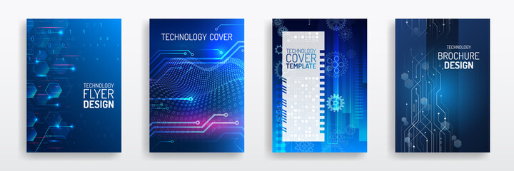 Obraz Blue layout futuristic brochures, flyers, placards. Contemporary science and digital technology concept. Vector template for brochure or cover with hi-tech elements background. - fototapety do salonu