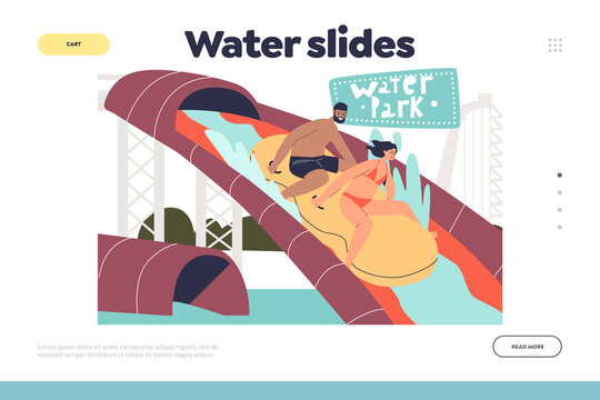 Water slides concept of landing page with young couple have fun in water park sliding waterslides