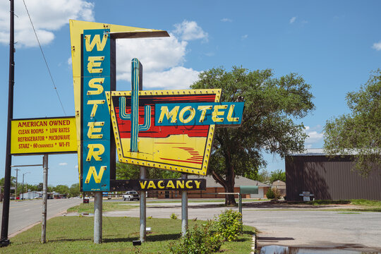 Sayre, Oklahoma - May 6, 2021: Classic neon sign for the Western Motel, along Route 66
