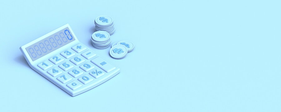 Calculator and coins 3D
