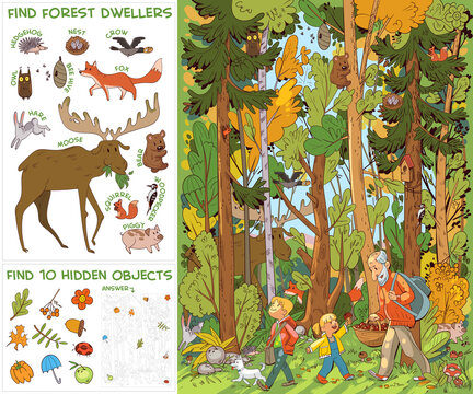 People and dog go to forest for mushrooms. Find all animals in picture. Find 10 hidden objects. Puzzle Hidden Items