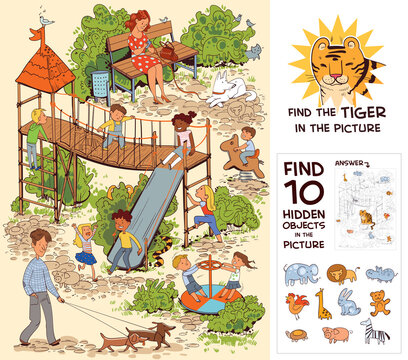 Children in the playground. Find 10 hidden objects in the picture