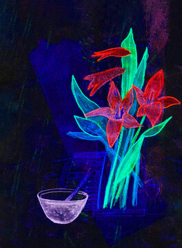 Lilies and bowl, a mixed media painting