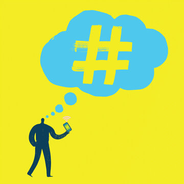 Fun Illustration of person holding smartphone thinking about hashtagging