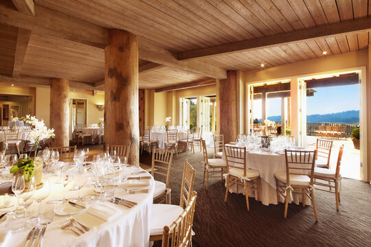 Dining room set up for wedding reception