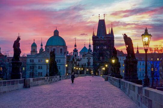 Charles Bridge in Prague at at Dawn